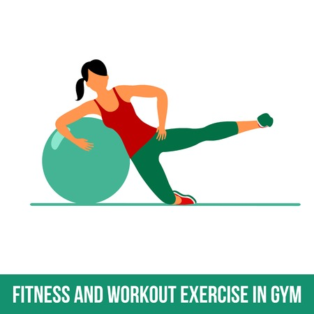 shaping: Ball exercise. Fitness, Aerobic and workout exercise in gym. Vector set of workout icons in flat style isolated on white background. Fitness equipment - ball.