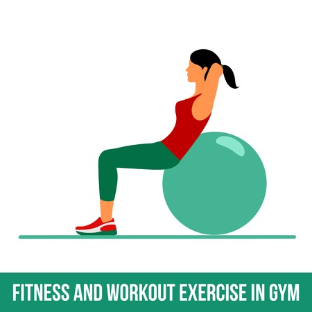 aerobic: Ball exercise. Fitness, Aerobic and workout exercise in gym. Vector set of workout icons in flat style isolated on white background. Fitness equipment - ball.