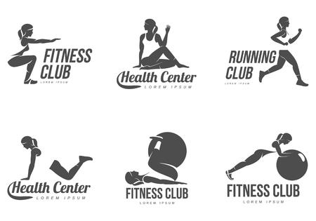 ejercicio aeróbico: logotipo de entrenamiento. Fitness, aeróbic y ejercicios de entrenamiento en el gimnasio. El conjunto del vector de la insignia del entrenamiento aislado en el fondo blanco. aparatos de gimnasia - pelota.