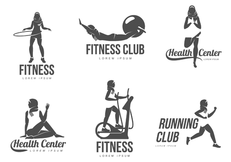 flexible woman: Muslim aerobic logo. Muslim woman fitness, aerobic and workout exercise in gym. Vector set of gym icons in flat style isolated on white background. People in gym.