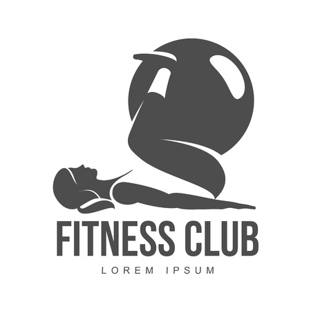 aerobic: Workout logo. Fitness, Aerobic and workout exercise in gym. Vector set of workout logo isolated on white background. Fitness equipment - ball.