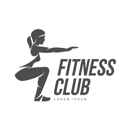 Workout logo. Fitness, Aerobic and workout exercise in gym. Vector set of workout logo isolated on white background. Fitness equipment - ball.