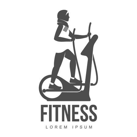 logo aérobique. fitness femme musulmane, l'exercice aérobie et d'entraînement dans le gymnase. Vector set d'icônes de gymnastique dans un style plat isolé sur fond blanc. Les gens dans une salle de sport. Logo