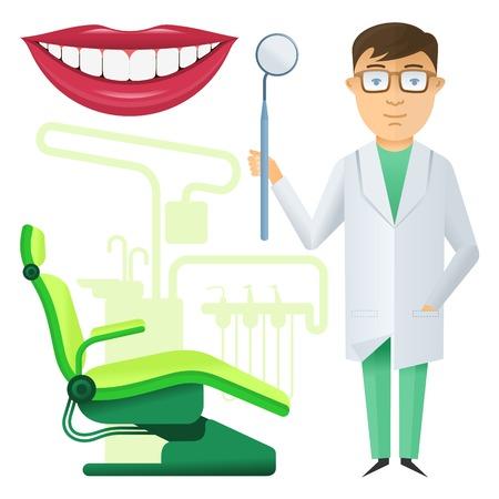 enjuague bucal: Conjunto de vectores en el estilo plano en la clínica dental. Folletos, materiales promocionales, banners, diseño de páginas web. Aislado en un fondo blanco Vectores