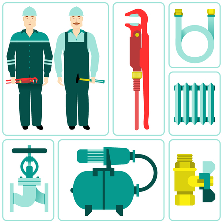 central heating: Vector flat icon water equipment. Equipment and household appliances for the kitchen, bathroom, heating. Plumbing tool. brochures, promotional materials, banners. Isolated on a white background