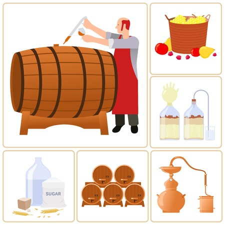 moonshine: Vector flat icons - production of whiskey, moonshine, alcohol, and vodka. Isolated on a white background.