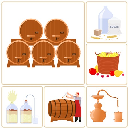 bottled: Vector flat icons - production of whiskey, moonshine, alcohol, and vodka. Isolated on a white background.