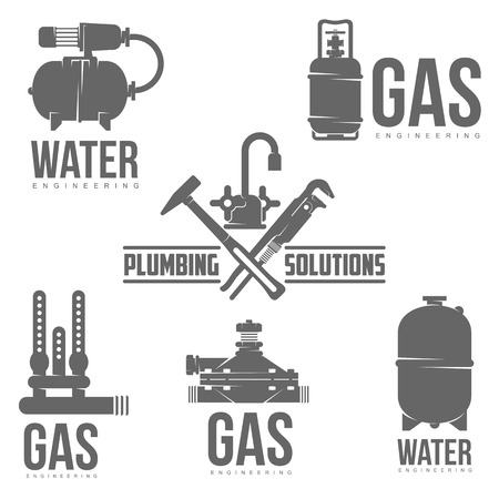 flexible business: vector   water, gas engineering, plumbing service. Web graphics, banners, advertisements, brochures, business templates. Isolated on a white background Illustration