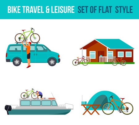 minivan: Bicycle travel and leisure. River boat, minivan, camping. Vector flat Illustration. Web graphics, banners, advertisements, brochures, business templates Isolated on a white background