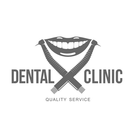 anesthesia: Vector logo on dental clinic. Web graphics, banners, advertisements, brochures, business templates. Isolated on a white background. Illustration