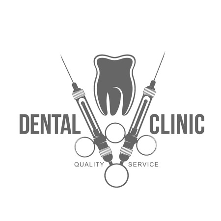 Vector logo on dental clinic. Web graphics, banners, advertisements, brochures, business templates. Isolated on a white background. Illustration