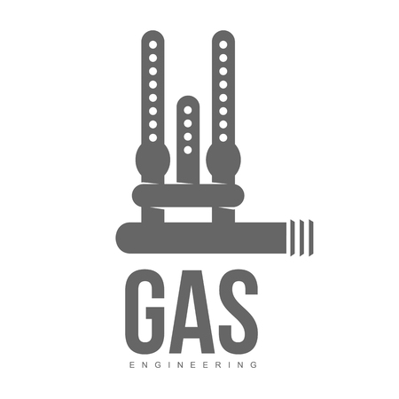 gas appliances: vector logo water, gas engineering, plumbing service. Web graphics, banners, advertisements, brochures, business templates. Isolated on a white background Illustration