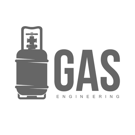 gas fireplace: vector logo water, gas engineering, plumbing service. Web graphics, banners, advertisements, brochures, business templates. Isolated on a white background Illustration