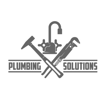 vector logo water, gas engineering, plumbing service. Web graphics, banners, advertisements, brochures, business templates. Isolated on a white background Ilustração