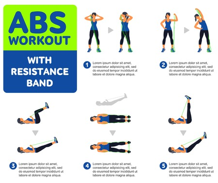 Abs workout WITH RESISTANCE BAND. Fitness, Aerobic and workout exercise in gym. Vector set of workout icons in flat style isolated on white background. Ilustração
