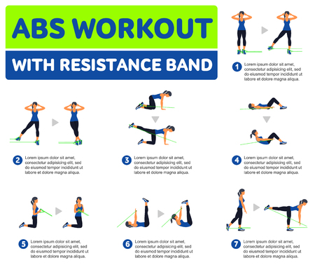 Abs entrenamiento con resistencia BAND. Fitness, aeróbic y ejercicios de entrenamiento en el gimnasio. Vector conjunto de iconos de entrenamiento en el estilo plano aislado en el fondo blanco.
