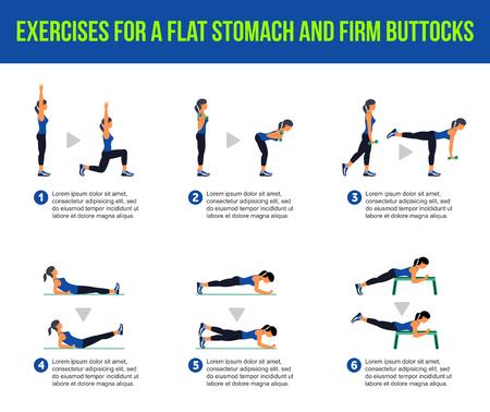 flat stomach: Ejercicios para un vientre plano y nalgas firmes. Fitness, aeróbic y ejercicios de entrenamiento en el gimnasio. Vector conjunto de iconos de entrenamiento en el estilo plano aislado en el fondo blanco.