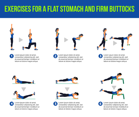 buttocks: Exercises for a flat stomach and firm buttocks. Fitness, Aerobic and workout exercise in gym. Vector set of workout icons in flat style isolated on white background.
