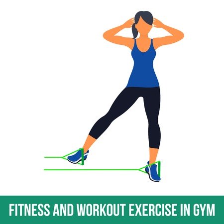 Workout WITH RESISTANCE BAND. Fitness, Aerobic and workout exercise in gym. Vector set of workout icons in flat style isolated on white background.  イラスト・ベクター素材