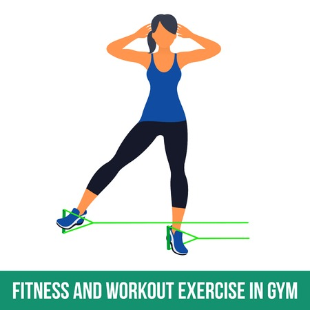 Workout WITH RESISTANCE BAND. Fitness, Aerobic and workout exercise in gym. Vector set of workout icons in flat style isolated on white background. Stock Vector - 61044919
