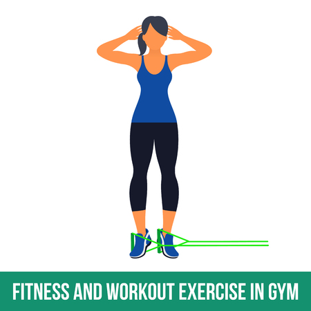 shaping: Workout WITH RESISTANCE BAND. Fitness, Aerobic and workout exercise in gym. Vector set of workout icons in flat style isolated on white background. Illustration