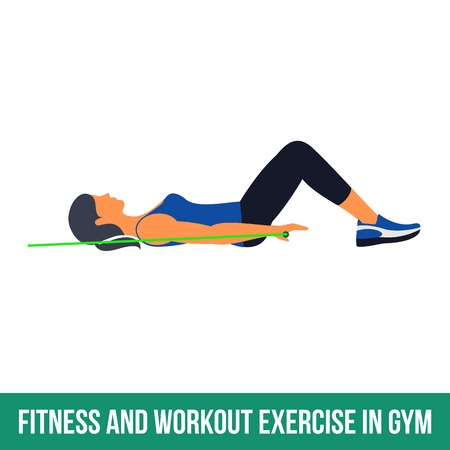 Workout WITH RESISTANCE BAND. Fitness, Aerobic and workout exercise in gym. Vector set of workout icons in flat style isolated on white background. Vectores