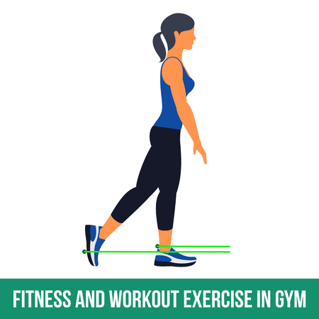 Workout WITH RESISTANCE BAND. Fitness, Aerobic and workout exercise in gym. Vector set of workout icons in flat style isolated on white background. Illustration