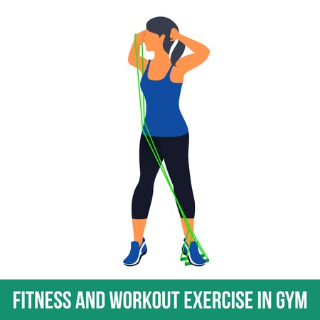 step fitness: Workout WITH RESISTANCE BAND. Fitness, Aerobic and workout exercise in gym. Vector set of workout icons in flat style isolated on white background. Illustration