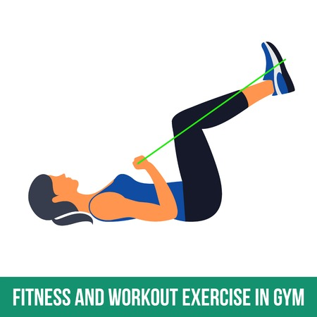 Workout WITH RESISTANCE BAND. Fitness, Aerobic and workout exercise in gym. Vector set of workout icons in flat style isolated on white background. Stock Vector - 61044958