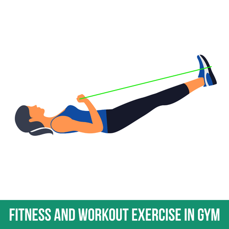 aerobic: Workout WITH RESISTANCE BAND. Fitness, Aerobic and workout exercise in gym. Vector set of workout icons in flat style isolated on white background. Illustration
