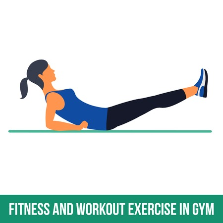 abdomen women: Fitness, Aerobic and workout exercise in gym. Vector set of workout icons in flat style isolated on white background.