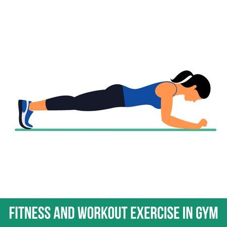 Fitness, aeróbic y ejercicios de entrenamiento en el gimnasio. Vector conjunto de iconos de entrenamiento en el estilo plano aislado en el fondo blanco. Ilustración de vector