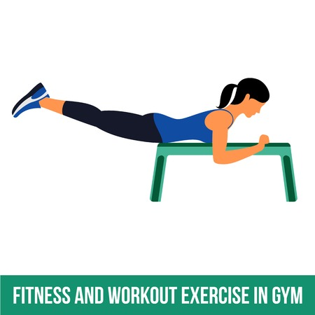 aerobic: Fitness, Aerobic and workout exercise in gym. Vector set of workout icons in flat style isolated on white background.