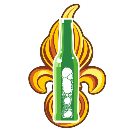 glass beer bottles with a foamy beer in three colors against the backdrop of royal heraldic lily