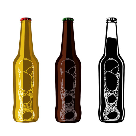 Vector set of vintage craft beer, alcohol, ale, brewery, bar, shop emblems and label. Branding Identity Corporate logo design template. Isolated on a white background. Illustration