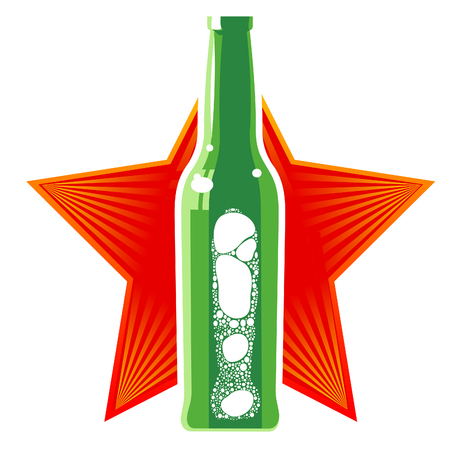 red star: glass beer bottles with a foamy beer in three colors against the backdrop of the red star