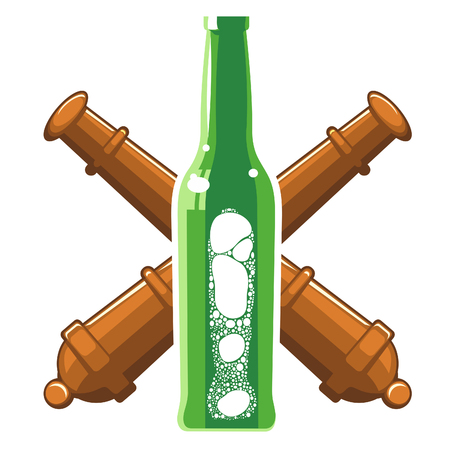 glass beer bottles with a foamy beer in three colors against the backdrop of crossed artillery guns