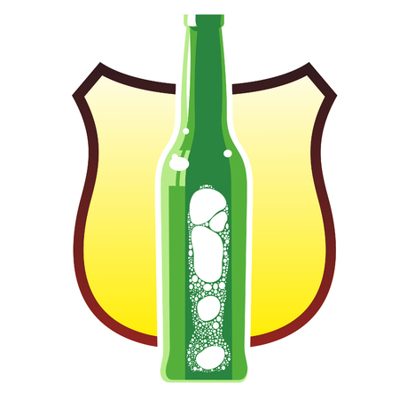 tipple: glass beer bottles with a foamy beer in three colors against the background of a heraldic shield