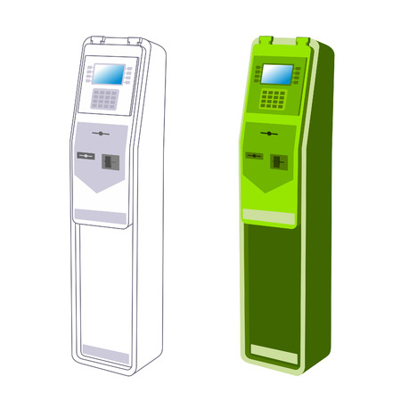 Payment terminal, digital touch screen, interactive kiosks. Vector flat Illustration. Web graphics, banners, advertisements, brochures, business templates. Isolated on a white background.