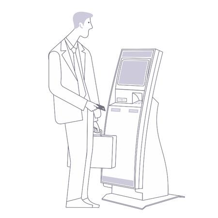Hombre de negocios con un maletín con terminal de pago estacionaria. Ilustración vectorial plana. gráficos web, banners, anuncios, folletos, plantillas del negocio. Aislado en un fondo blanco. Ilustración de vector