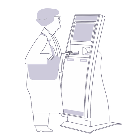 Grandmother-pensioner with stationary payment terminal. Vector flat Illustration. Web graphics, banners, advertisements, brochures, business templates. Isolated on a white background.