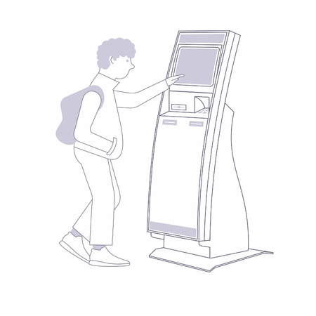 self operation: Teen in sneakers with a backpack with stationary payment terminal. Vector flat Illustration. Web graphics, banners, advertisements, brochures, business templates. Isolated on a white background.