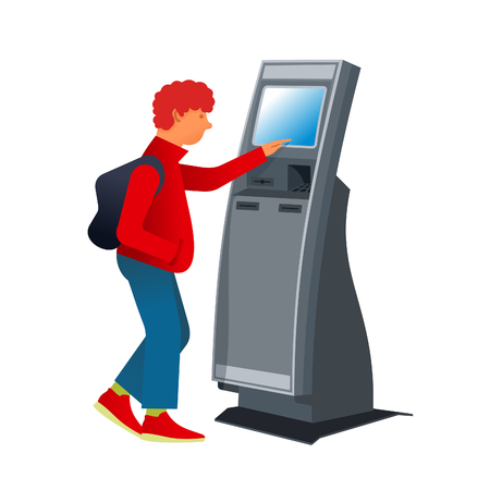 Teen in sneakers with a backpack with stationary payment terminal. Vector flat Illustration. Web graphics, banners, advertisements, brochures, business templates. Isolated on a white background.