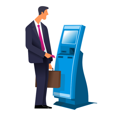 self operation: Businessman with a briefcase with stationary payment terminal. Vector flat Illustration. Web graphics, banners, advertisements, brochures, business templates. Isolated on a white background. Illustration