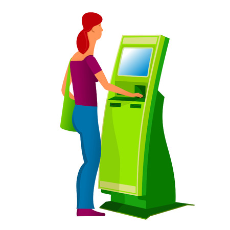 self operation: Girl with stationary payment terminal. Vector flat Illustration. Web graphics, banners, advertisements, brochures, business templates. Isolated on a white background.