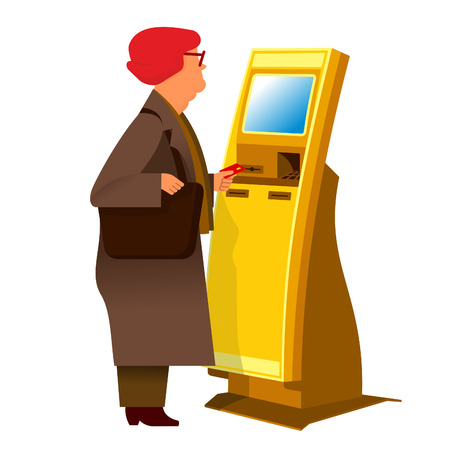 self operation: Grandmother-pensioner with stationary payment terminal. Vector flat Illustration. Web graphics, banners, advertisements, brochures, business templates. Isolated on a white background.
