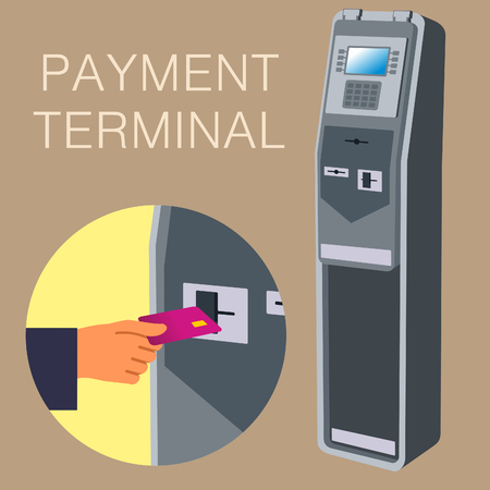 self operation: Payment terminal, digital touch screen, interactive kiosks. Vector flat Illustration. Web graphics, banners, advertisements, brochures, business templates. Isolated on a white background.