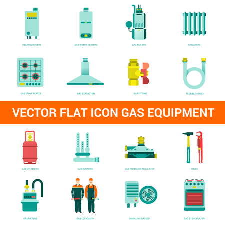 gas appliances: Vector flat icon gas equipment. Gas equipment and household appliances for the kitchen, bathroom and heating. Locksmith tool for gas equipment.