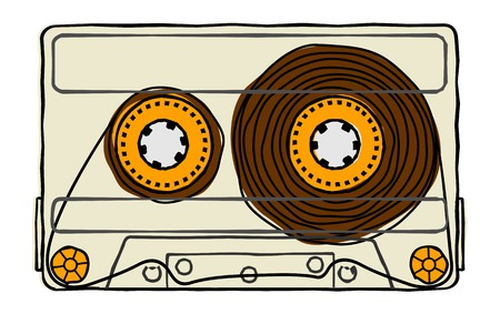 analogous: Vector set of compact tape cassettes. Web graphics, banners, advertisements, stickers, labels, business templates, t-shirt. Isolated on a white background