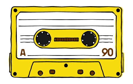 Vector set of compact tape cassettes. Web graphics, banners, advertisements, stickers, labels, business templates, t-shirt. Isolated on a white background